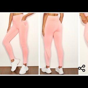 Pink Mesh Pocket Detail Luxe Gym Legging